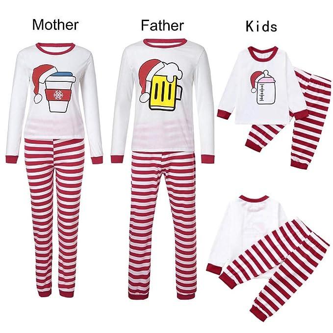 K-youth Conjunto de Pijamas Ropa Familiar Navidad Fiesta Impresión Camisetas Manga Larga Blusa Tops y Pantalones de Rayas Padre Madre Hijo Ropa de Dormir de ...