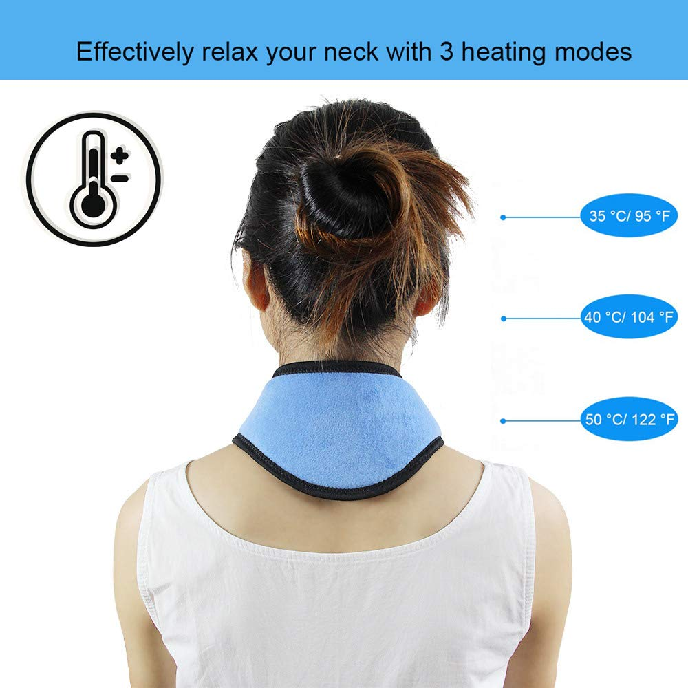Far Infrared Portable Electric Heating Pad for Neck, 3 Temperatures Control with 6.2 ft USB Cable,Hot Therapy, Pain Fatigue Relieve, Improve Blood Circulatio, Keep Warm (Blue)