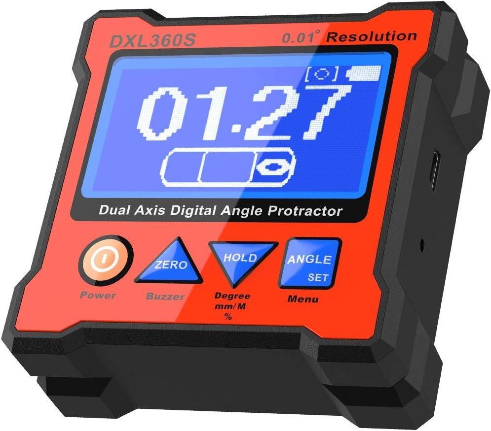 Digitaler Winkelmesser DXL360S GYRO Schwerkraft 2 in 1 Digitaler Winkelmesser Neigungsmesser Dual Achse Levelbox 0,01/° Aufl/ösung 134