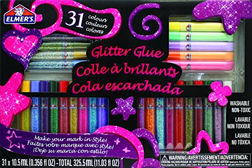 Elmer's 3D Washable Glitter Glue Pens, 31 Rainbow and Glitter Colors (E198)