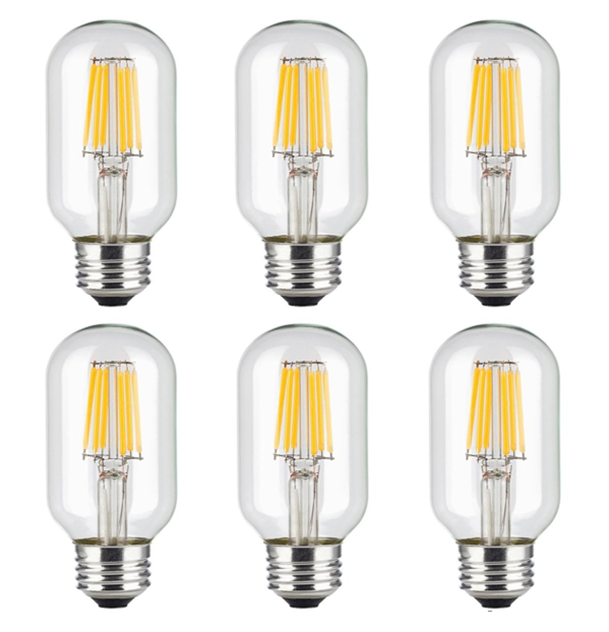 Pack of 6 LED Edison Bulb, KEEDA 6W T45 Vintage Antique Dimmable Bulb Lighting Warm White 2700K, Clear Class