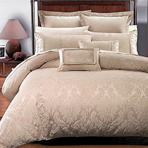 Beige Jacquard Comforter - 7PC- Full/Queen Sara Jacquard Duvet Cover Set By Royal Hotel