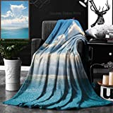 Unique Custom Double Sides Print Flannel Blankets White Clouds On Blue Sky Over Calm Sea Sunlight Reflection On Sea Bali Indonesia Sunny Super Soft Blanketry for Bed Couch, Twin Size 60 x 80 Inches