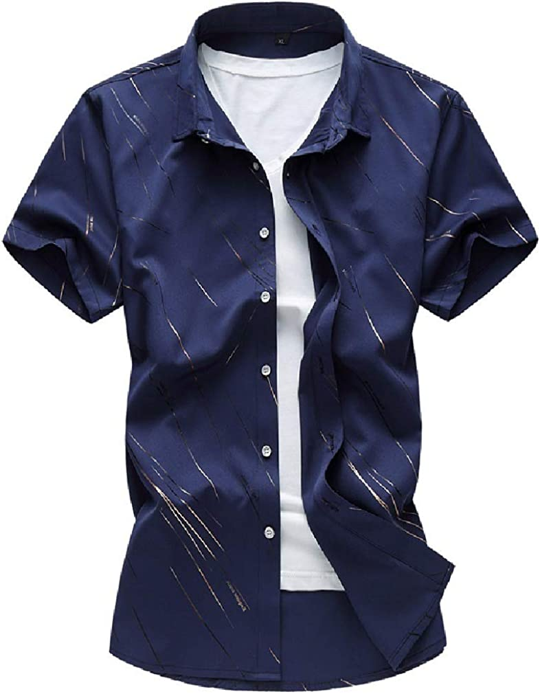 VITryst-Men T-Shirts Plus Size Regular-Fit Short-Sleeve Western Shirt