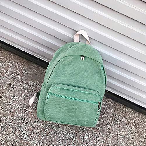 Adolescentes en Casual Sac Étudiant Daypack Brown À Dos Voyage D'école Velours JAGENIE pour Sac Coussin Vert A1vqI7Iwx