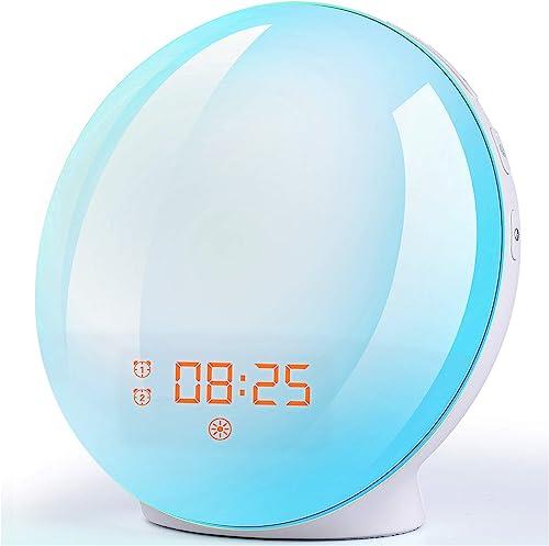 Wake Up Light Sunrise Alarm Clock and Bedside Night Light with Sunrise/Sunset Simulation