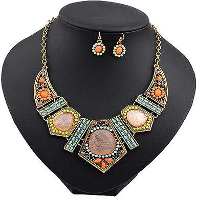 Vintage Flower Crystal Bubble Women Necklace Earrings Set