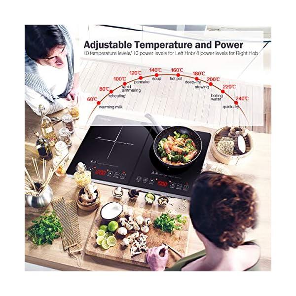 Piastra a Induzione Singolo Amzchef, piastra ad induzione portatile da 2000 W con corpo sottile, 9 livelli di potenza,9…