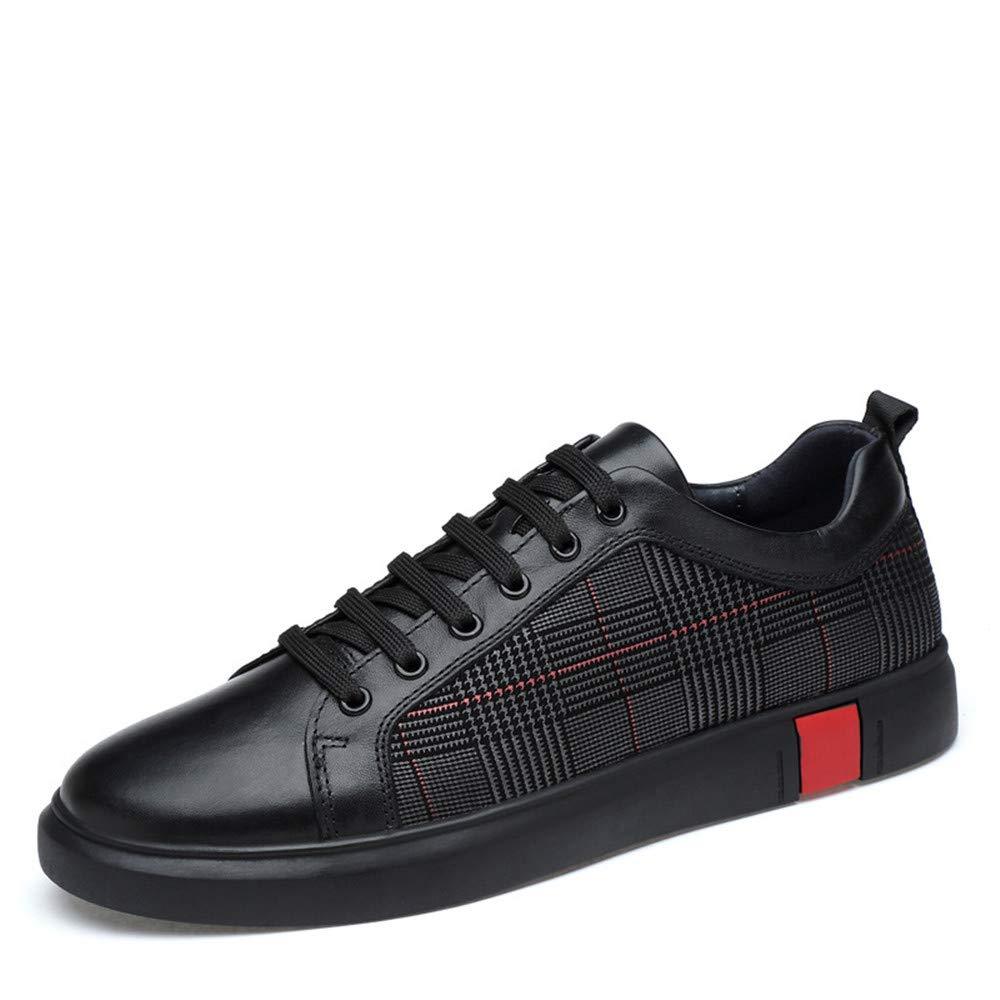 schuheDQ Casual Herrenschuhe Kuhfell Schwarz Vier Jahreszeiten können Board-Schuh tragen Freizeit