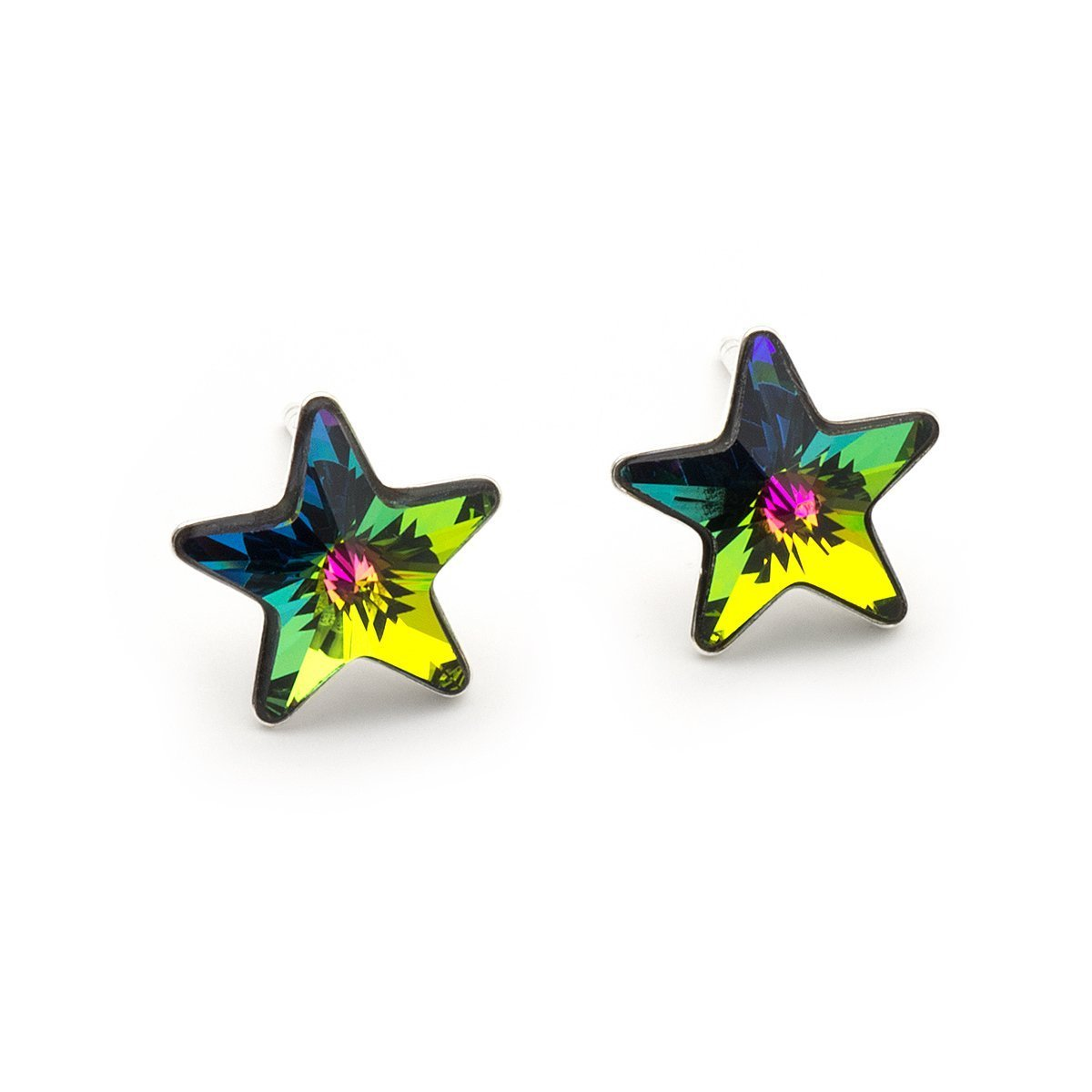 Rainbow small Swarovski Star crystal sterling silver 925 stud earrings 10 mm .