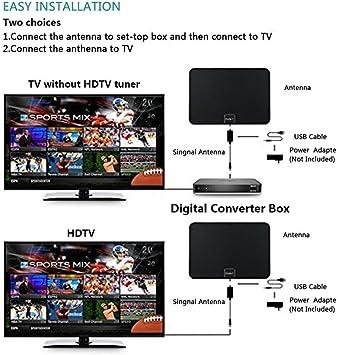 Danny® TV Aerial – 50 Miles 1080P Transparente Digital HDTV Antena – Mejor HDTV Antena Indoor – Papel Ultrafina de Super Soft & Light (Negro): Amazon.es: Electrónica