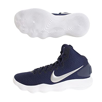 Nike Men\u0027s React Hyperdunk 2017 Midnight Navy/Metallic Silver/White Nylon  Running Shoes 7