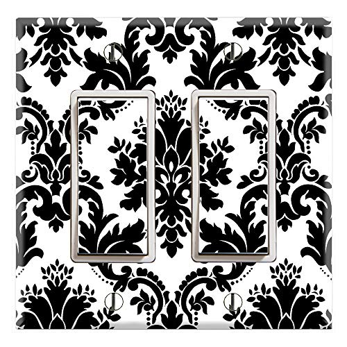Bedroom Cover Outlet (Graphics Wallplates - Black and White Damask - Dual Rocker/GFCI Outlet Wall Plate Cover)