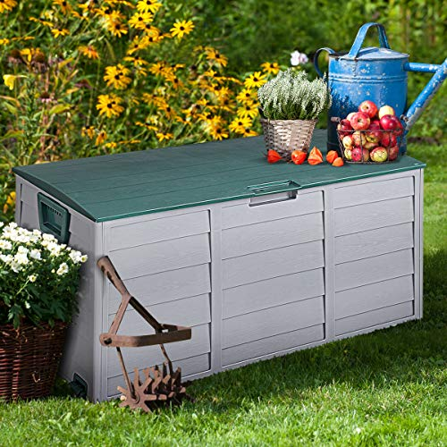 Giantex 79 Gallon Deck Box W/ 2 Wheels and Handles for Easy Carrying Garden Container for Patio Garage Shed Backyard Storage Outdoor Tool Box