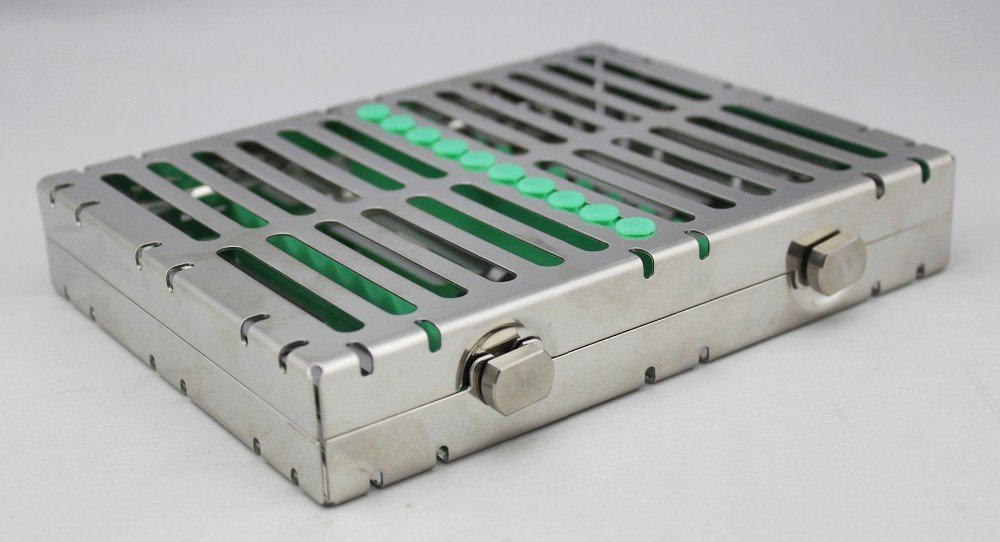 For 10 Instruments Dental Surgical Sterilization Cassette Tray Racks With Lock Green
