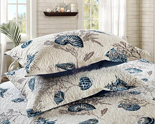 Blue Shell Tread Design Cotton Quilted Bed Pillow Cases 2 (Laura Floral Pillow Shams)