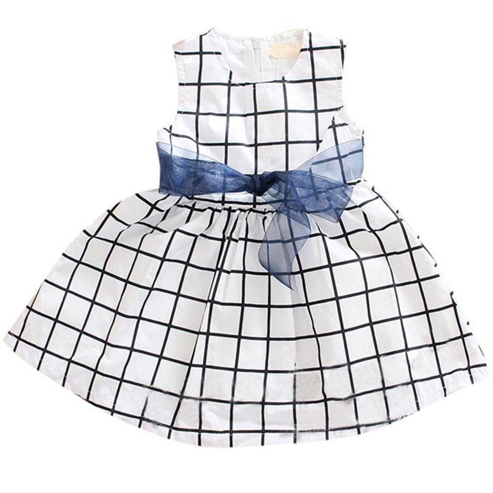 Cute Baby 0-3 Years Toddler Girl Kids Cotton Top Bowknot Plaid Dress Outfit Clothes Fairy Season BBC-DR01-03
