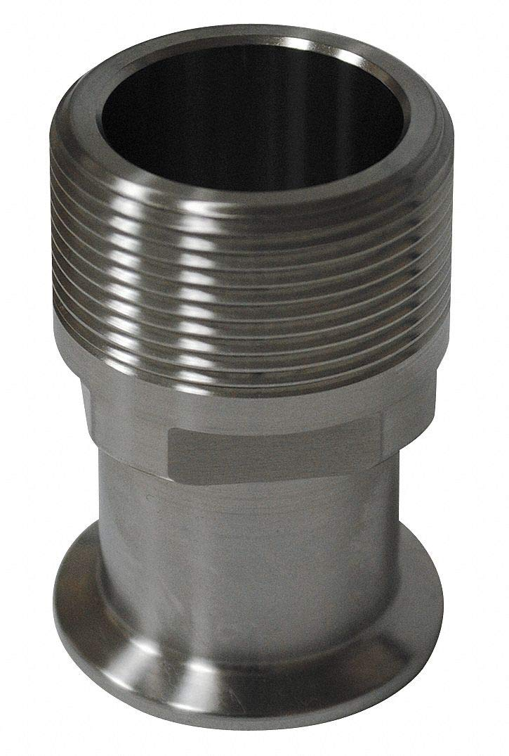 T316L Stainless Steel Male Adapter, Clamp x MNPT Connection Type, 3'' Tube Size