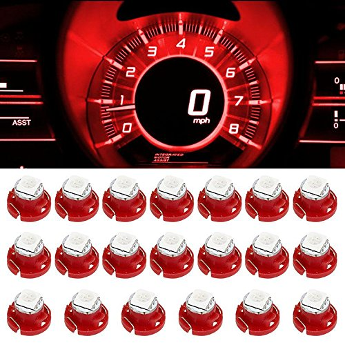 Partsam 20pcs T5/T4.7 Neo Wedge LED Bulb Red HVAC Center Console AC Climate Light Lamp 5050-SMD 12mm 12V for 2001-2011 Dodge RAM 1500 2500 3500 (04 Dodge Ram Center Console compare prices)