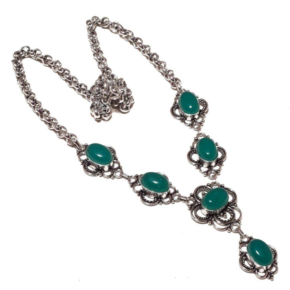 Green Onyx Silver Overlay 55 Gram Necklace 17-18 Designer Jewelry