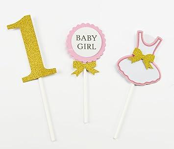 furuix 3 pcs niñas primer cumpleaños Decoración para tarta ...