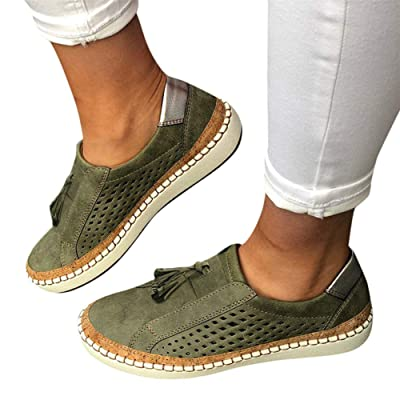 Walking Shoes for Women Slip Ons, Fashion Sneakers Tassel Casual Canvas Laceless Low Top Loafers Vintage Flat Walking Shoes at Women's Clothing store