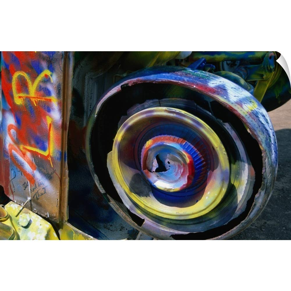 """CANVAS ON DEMAND Wall Peel Wall Art Print Entitled Wheel of a Half-Buried Cadillac Covered in Graffiti, Cadillac Ranch Monument. 18""""x12"""""""