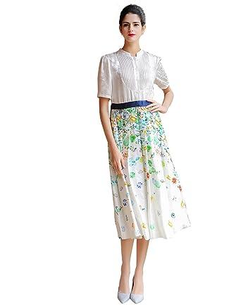 5e0f8db38a76 VOA Women s White Floral Short Sleeve Midi Shirt Dress A7583 at ...