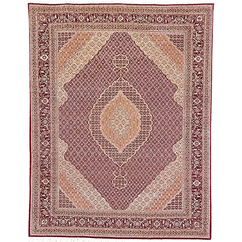 Safavieh Tabriz Herati Collection TH27 Hand-Knotted Traditional Red Silk & Wool Area Rug (10 ...
