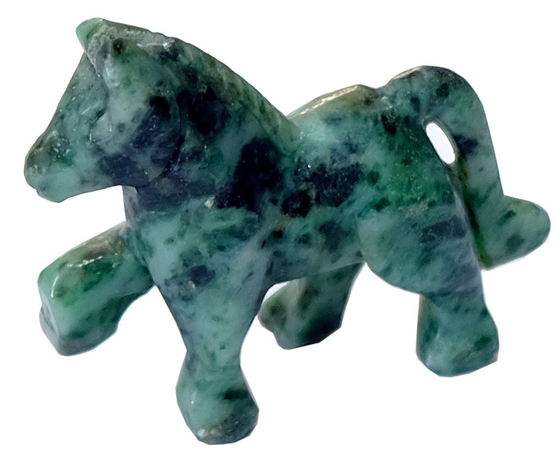 Kaltner Presents Gift Idea/Lucky Horse Resin Ornament Gemstone Jade Jadeite (Dimensions 47 x 42 mm) Kaltner Präsente RL 20792