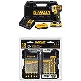 DEWALT DCF887D2 20V MAX XR Li-ion 2.0 Ah Brushless 0.25' 3-Speed Impact Driver Kit with DEWALT Titanium Drill Bit Set…