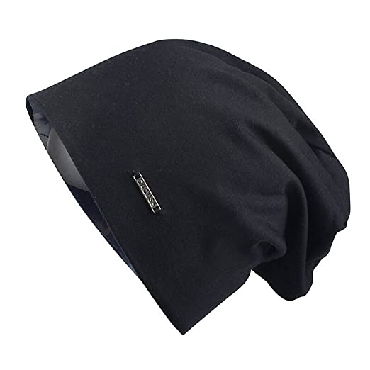 b8d2fe7a005 CACUSS Baggy Skull Cap Thin Cotton Stretch Beanie Summer Sprort Hat (B0094  Black)