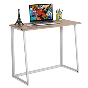 4NM Folding Table, Small Foldable Computer Desk, Home Office Laptop Table Writing Desk, Compact Study Reading Table for Small Space, Space Saving Office Table (Natural and White)