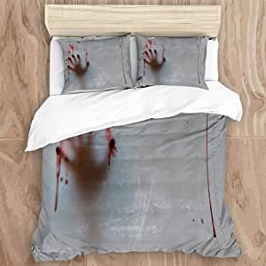 EILANNA Duvet Cover Set,Horror House Halloween Blood Hand Red Decoration Behind Gray Background,Decorative 3 Piece Bedding Set with 2 Pillow Shams, King Size