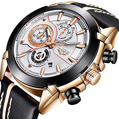 Mens Watches,LIGE Waterproof Chronograph Sport Analog Quartz Watch Gents Big Face Leather Multifunction Fashion Casual Dress Wrist Watch Rose Gold White