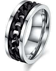 Mens Spinner Rings Fidget Ring Stainless Steel Band Black/Silver/Antique Silver/Multicolor Size 6-15
