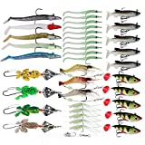 Goture Multiple Soft Fishing Lures Set Tackle Best for Bass Trout Walleye Carp Pike Including Lead Head Jigs Shrimp Rig Spinner Frog Plastic Bait Kit Fit for Freshwater and Saltwater
