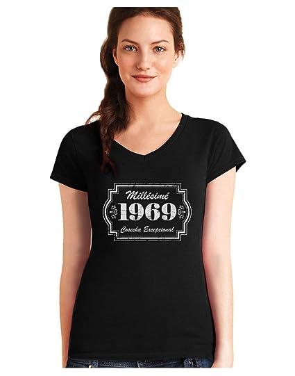 Green Turtle Camiseta de Cuello V para Mujer - 1969 Cosecha ...
