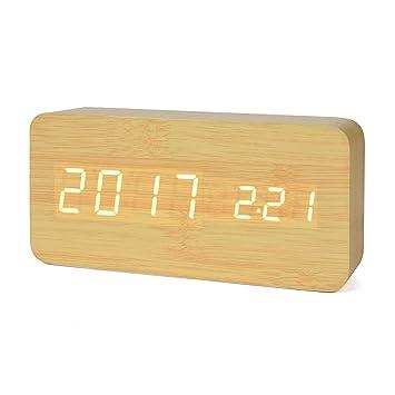 Reloj Digital Despertador de Madera con Control de Sonido y LED Brillo de la Pantalla(