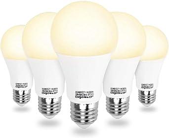 Aigostar - 11 W Bombilla LED A60, Esférica casquillo E27, Luz calida 3000K, 935 lm, Ángulo 280°, no regulable -Pack de 5: Amazon.es: Iluminación