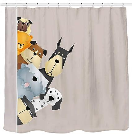 Sunlit Peekaboo Cute Dogs Curious Cartoon Puppy Fabric Shower Curtain For Kids Lover PVC