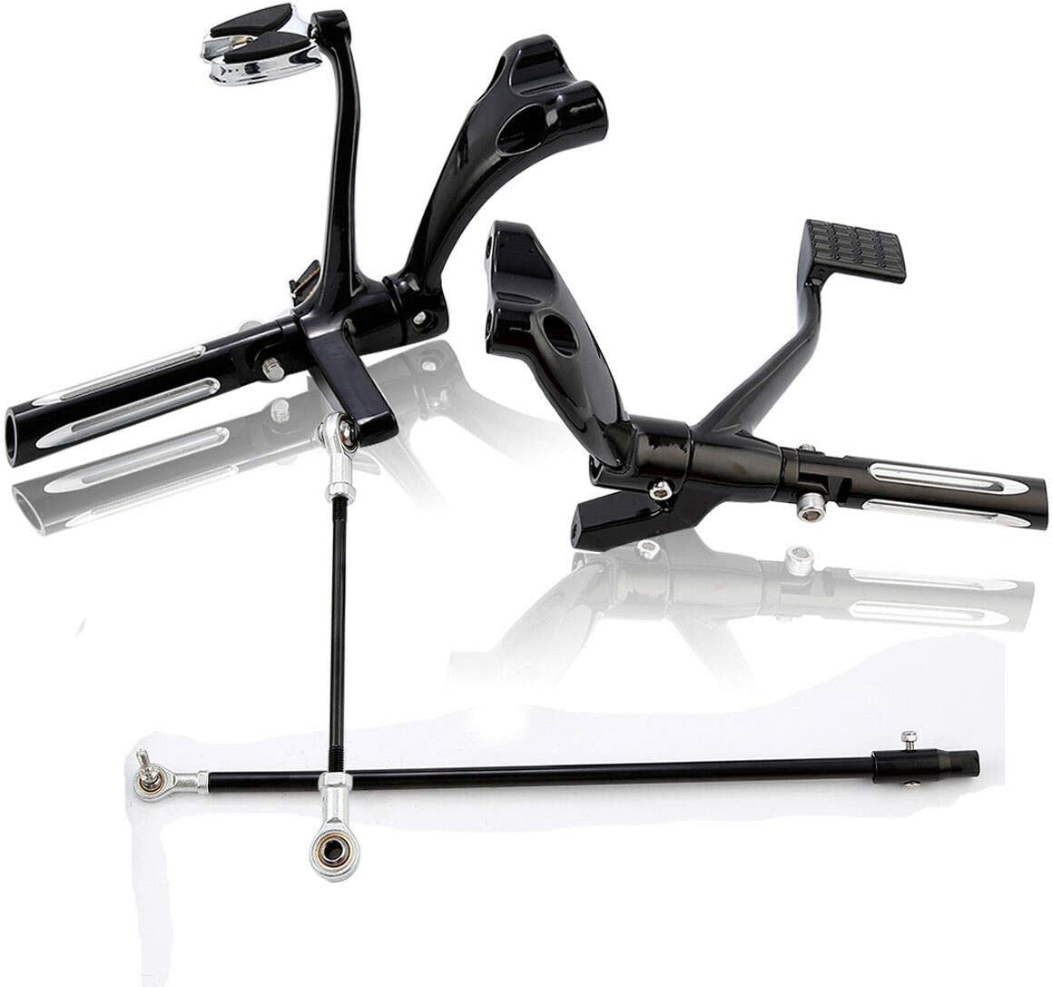 Forward Controls Pegs Levers Linkages Compatible with Harley Sportster XL 1200 883 2014-2020 Black