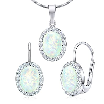 SILVEGO 925 Sterling Silver Jewellery Set with Swarovski® Crystals Clear WrP7LpNS