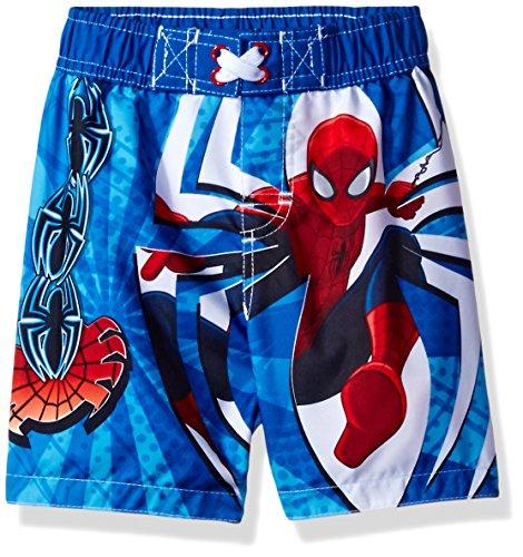 [Marvel Toddler Boys' Spiderman Swim Trunk, Blue, 4T] (Blue Spiderman Suit)