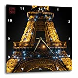 3dRose dpp_107794_3 Architecture Detail of Eiffel Tower, Global Icon Monument of France, Illuminated at Night, Paris Wall Clock, 15 by 15-Inch