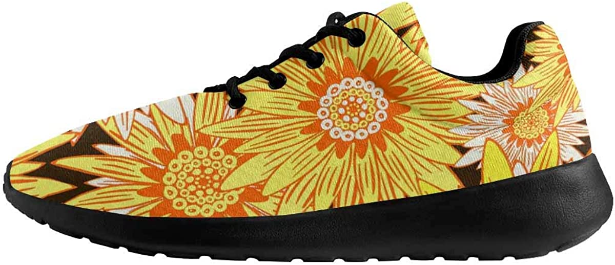 INTERESTPRINT Flower Pattern Stylized Daisy Womens Running Sport Shoes Breathable Lightweight Athletic Shoes