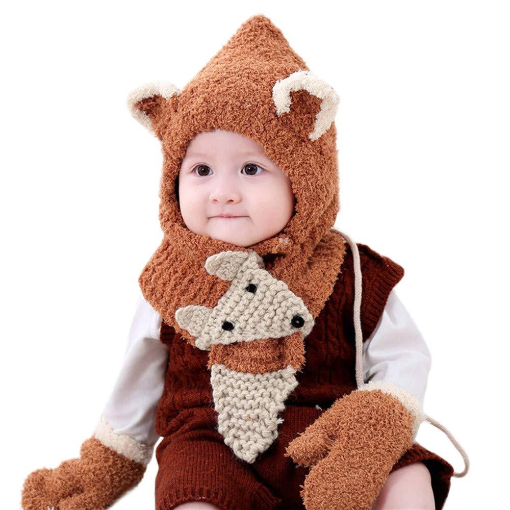 Covermason Kleinkind Mä dchen Jungen Baby Winter Hä keln Stricken Hut Mü tze Deckel+Schal+Handschuhe Set Alice