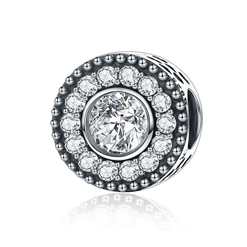 Authentic Silver Radiant Bloom Charm with Clear CZ Women European Bracelet Bead