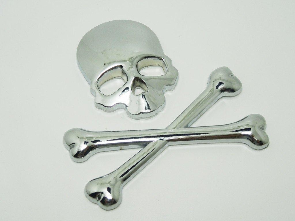 Fengh, emblema de calavera y huesos cruzados en 3D. Pegatinas de metal para todo tipo de coches, color plateado.