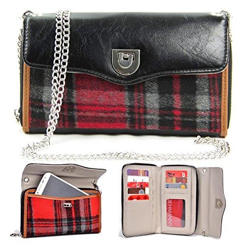 NuVur153; Women's Universal Smartphone Wallet Wristlet Clutch Fits Micromax A110Q Canvas 2 Plus, A111 Canvas Doodle, A117 Canvas Magnus, A120 Canvas, Bolt A82, Canvas 4 A210 |Black